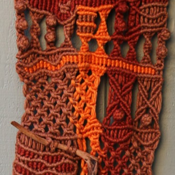 Two Vintage Macrame Wall Hangings with Sticks! - Visual Art