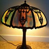filigree Slag glass lamp sunset colors