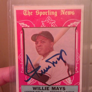 1959 all-star #563 autographed Willie Mays baseball card
