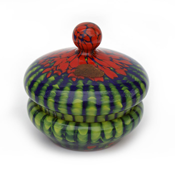 Green/Red WELZ Stripes and Spots Candy dish + Matching Purple dish