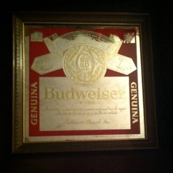 Budweiser Mirror in Spanish stamped 102-203 - Advertising