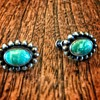 Beautiful vintage greenish turquoise screwback earrings