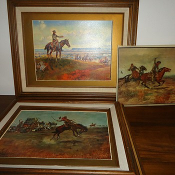 CM Russell Prints & one lithograph