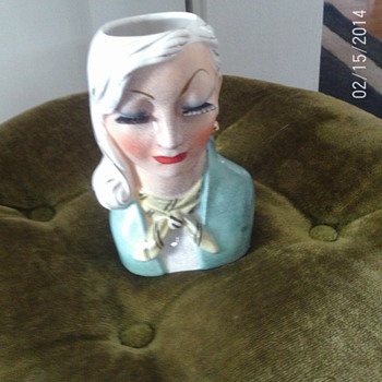 Lady Head Vase - Art Pottery