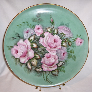 Porzellanfabrik Arzberg Germany Blank Charger Hand Painted Roses 13 inches - China and Dinnerware