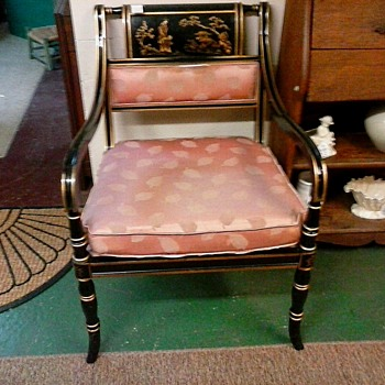 "Regency Style ""Chinoiserie"" Arm Chair/Black Lacquer With Gilt Scene And Accents/Unknown Maker and Age"