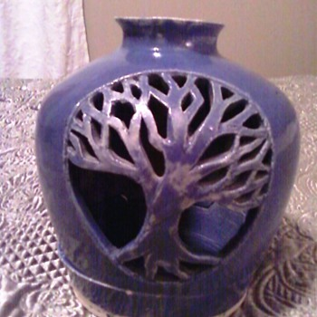 Blue Pottery Candle Holder - Art Pottery