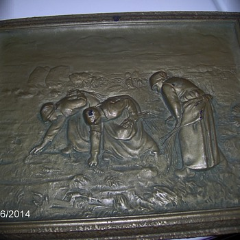 "Antique Metal Picture Title,""The Gleaners"" Zinkote,Zinser Corp Chicago"