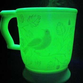 {vintage} custard milk glass mug.  - Glassware
