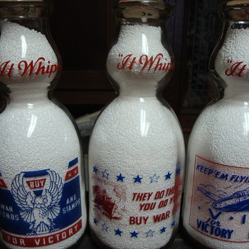 War Slogan Creamtops From Sanitary Dairy....... - Bottles