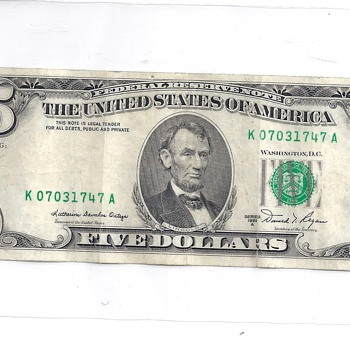 Miss Printed $5 dollar bill