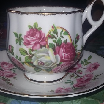 Rosina white and pink tea cup and saucer
