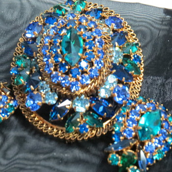 Brooch and Earrings ..Blue Green