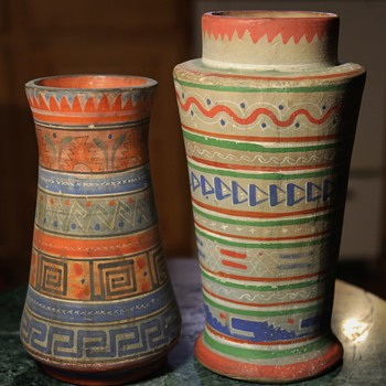 Aztec Pattern of Tonala Pottery - two vases