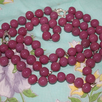 Purple Glass Necklace - Costume Jewelry
