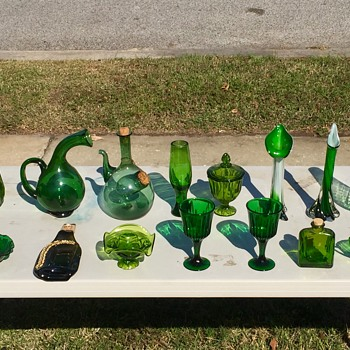 Vintage Green Art Glass Murano Empoli Blenko Viking New Martinsville