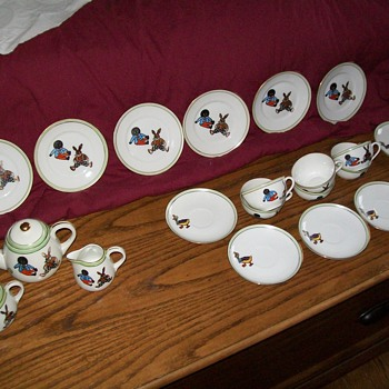Anitque egg-shell child&#039;s golliwog tea service - China and Dinnerware