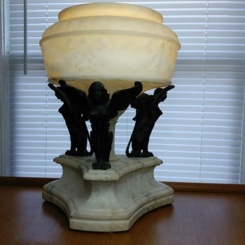 Antique Bronze Mythology Creature & Alabaster Electric Lamp