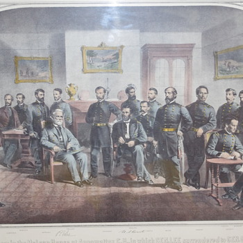 Print depicting the officers in The McLean House, Appomattox.