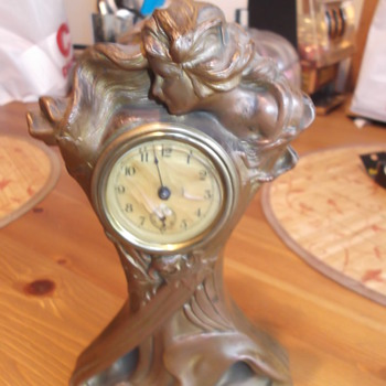 Antique Brass Statue Clock - Clocks