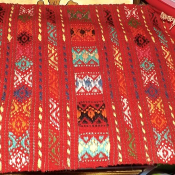 bright colored textile with fringe - Rugs and Textiles