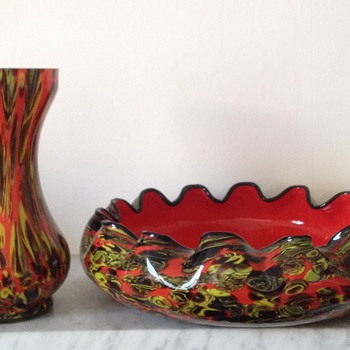 Kralik millefiore vase and bowl - I think