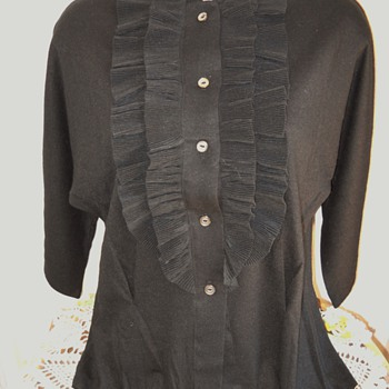 50's - 60's  Sears Kerrybrooke Black Pin-Up Girl Ruffle Sweater - Womens Clothing