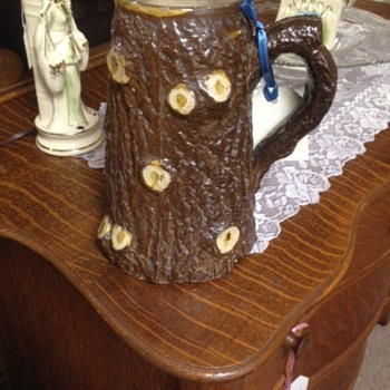 Tree log mysterious majolica pitcher - Pottery