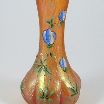 Kralik or Rindskopf Peach Oil Spot Enameled Vase