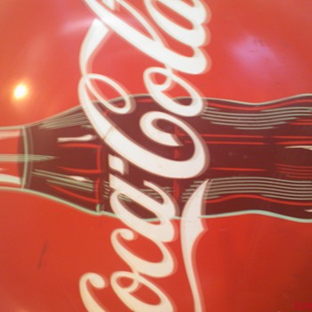 "Help identify 36"" Coca-cola Sign. Hand painted detailed bottle with out CAP"