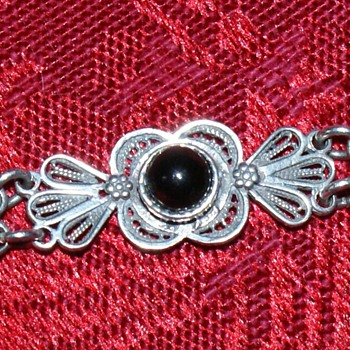 Silver Filigree Bracelet with Onyx - Marked 925 and CPT