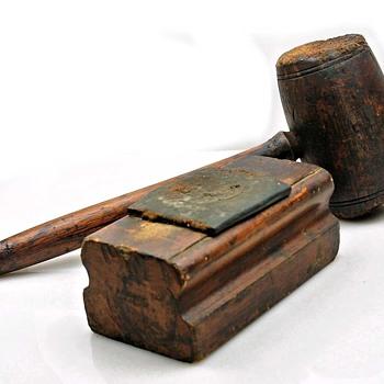 Antique Letterpress Printing Type Planer / Leveler and Wood Mallet - Office