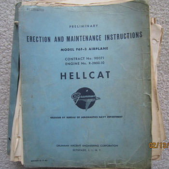 WWII Restricted Navy Hellcat Airplane Erection Maintenance Manual