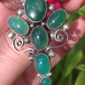 Dorrie Nossiter Silver and Jade Clip Brooch - Art Deco