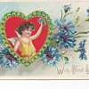 Bachelor Button Flower Valentine Postcard