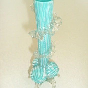 Welz Spatter Glass Vase On Ribbed Ball Feet