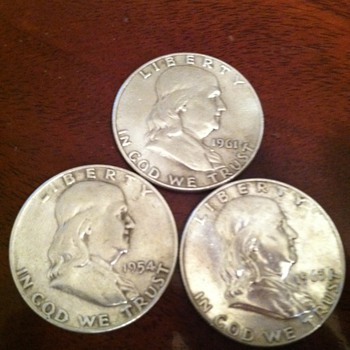 Ben Franklin .50$ Half Dollars  90% Silver