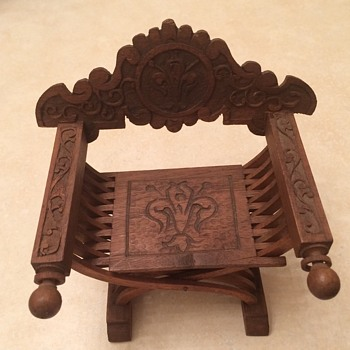Old Carved Wooden Miniature Chair