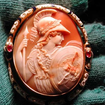 The best enamelled Athena with snake border cameo - Victorian Era