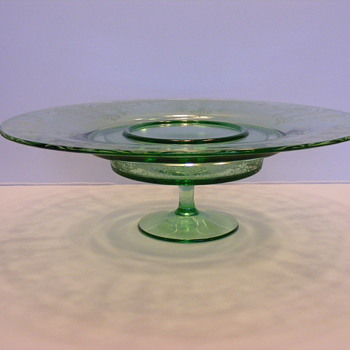 Green depression glass cake plate