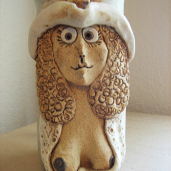 "Funny Face Cowgirl with Big Boobs Ceramic/Stoneware Mug/Stein Marked ""WD"" - Art Pottery"