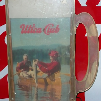 Utica Club Beer Mug Fisherman Sign - Breweriana