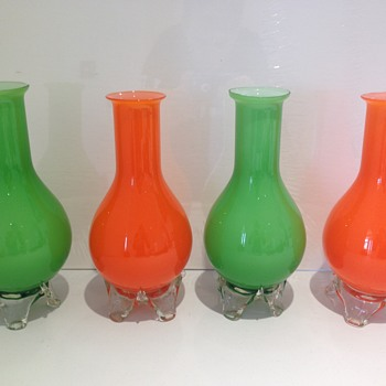 Czech? Loetz? Kralik? None of the above?! 2 pairs of lovely bright glass vases with leaf detailing to feet.