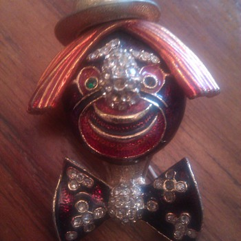 Ciner Rhinestone clown pin brooch