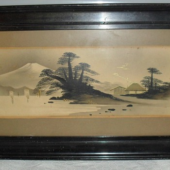 ORIENTAL SCENIC WALL ART  ETCHING WITH GOLD LEAF DECORATION