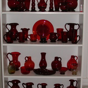 Collection of Clevenger Brothers ruby and amberina glass