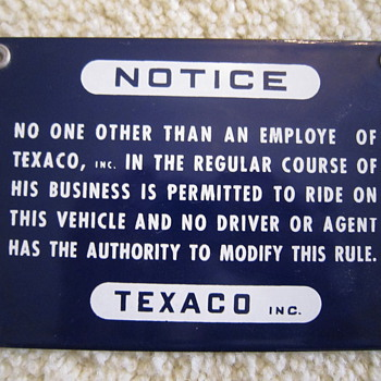 1959 Texaco Tanker Fuel Truck Driver Passenger Seat Warning Notice Misprint Metal Sign  - Petroliana