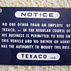 1959 Texaco Tanker Fuel Truck Driver Passenger Seat Warning Notice Misprint Metal Sign