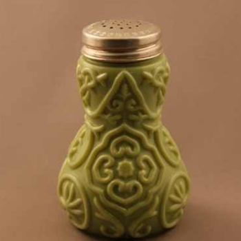 "Victorian Moss Green Milk Glass ""Doodad"" Shaker. - Kitchen"