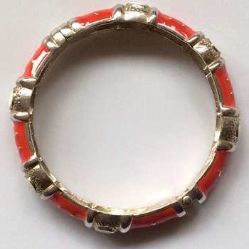 Vintage enamel and silver hinged bangle